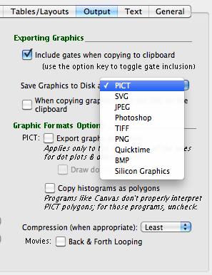 Flowjo v9 output graphic formats